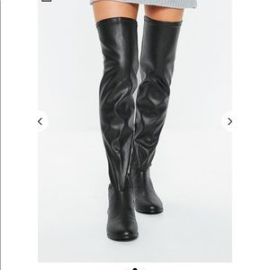 NEW Missguided Faux Leather Over the Knee Boots